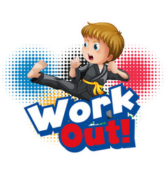 font design for word work out with kid doing vector image