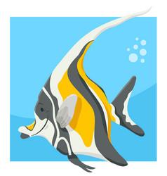 Funny cartoon fish animal character vector