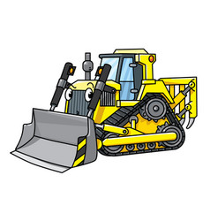 Funny small bulldozer with eyes vector