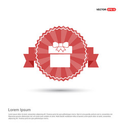 gift box icon - red ribbon banner vector image