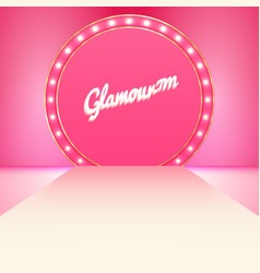 glamour pink stage podium with lighting vector image