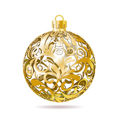 Gold Openwork Christmas ball on white background vector image vector image