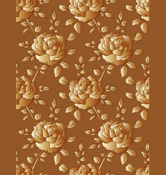 golden roses seamless floral pattern vector image