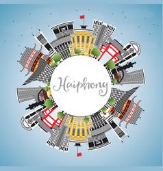 Haiphong vietnam city skyline with gray buildings vector