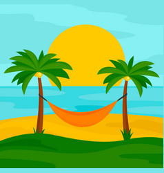 hammock on the beach concept background flat vector image