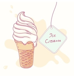 Hand drawn ice cream sundae in waffle cone vector