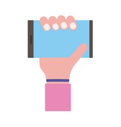 Hand lifting smartphone horizontally flat style vector