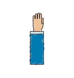 Hand up with formal suit vector
