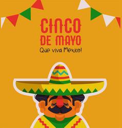 happy cinco de mayo greeting card mariachi man vector image