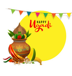 happy ugadi greeting card text indian holiday vector image