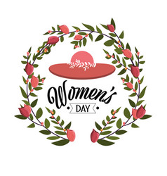 Hat with roses plants to womens day celebration vector