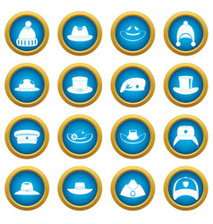 Headdress hat icons blue circle set vector