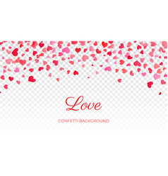 heart confetti falling background valentine s love vector image