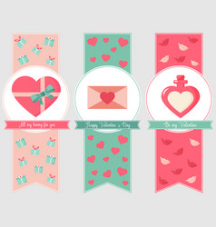 Holiday bookmark with elements for valentines day vector