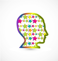 Human head with stars background vector image
