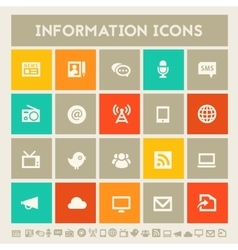 Information icon set Multicolored square flat vector image