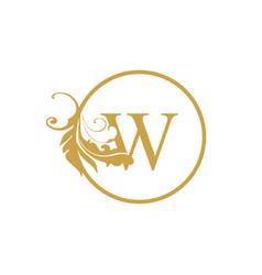 Initial w letter luxury beauty flourishes vector