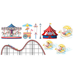 Isolated objects from circus theme with rides and vector