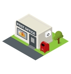 Isometric flat post office and mail box vector