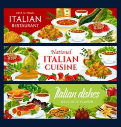 Italian restaurant cuisine banners set vector
