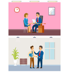 Job interview and working task office routine vector
