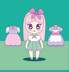 kawaii girl with set clothes vector image