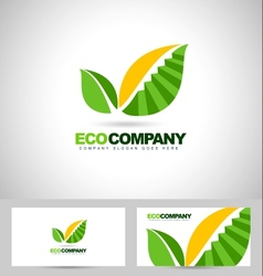 Leaf Logo and stairs concept vector image
