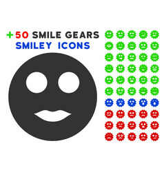 lips smiley icon with bonus smile collection vector image