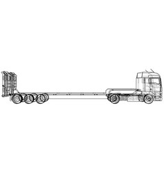 Low bed truck trailer abstract drawing tracing vector