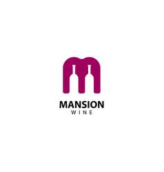 M letter mansion wine logo icon vector