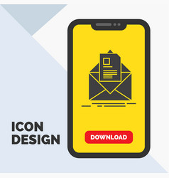 mail contract letter email briefing glyph icon in vector image