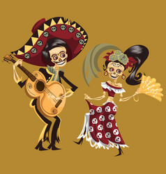 man and woman skeletons dancing at party poster vector image