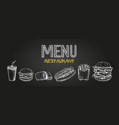 menu poster design with chalkboard elements fast vector image