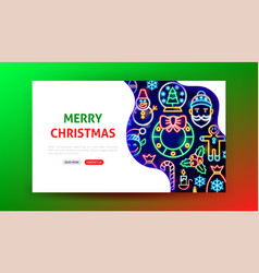 merry christmas neon landing page vector image