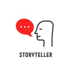 Minimal storyteller logo with human head vector