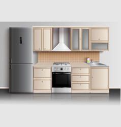 Modern kitchen interior composition vector