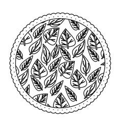 Monochrome round frame with pattern of ovoid vector