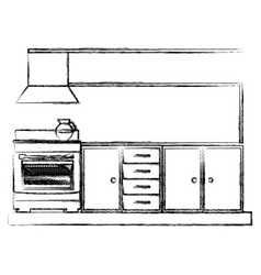 Monochrome sketch of lower kitchen cabinets with vector