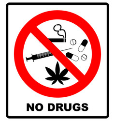 no drugs allowed no capsule marijuana cannabis vector image