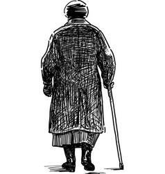 Old woman at walk vector