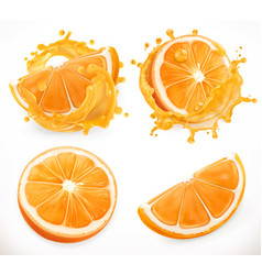 Orange juice fresh fruit and splashes 3d realism vector