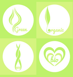 Organic green signs vector