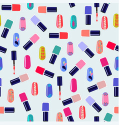 Pattern of colorful nail polish bottles vector
