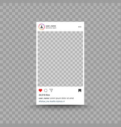 Photo frame inspired instagram post interface vector