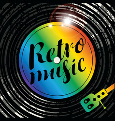 poster retro music with vinyl record and player vector image