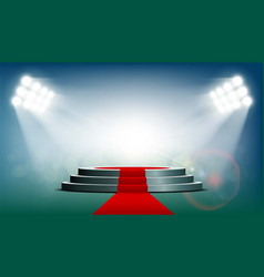 round podium with a red carpet vector image