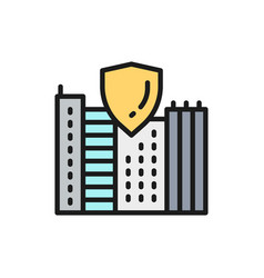 Safe city town with shield secure flat color vector