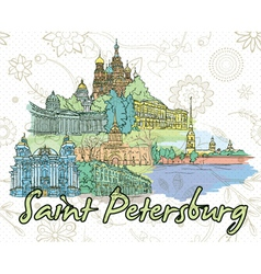 Saint petersburg doodles vector