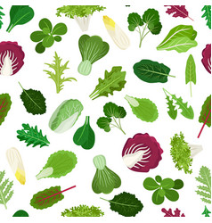 Salad vegetable leaves seamless pattern vector