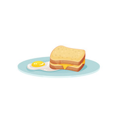 Sandwich with cheese and fried egg on a plate vector